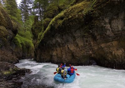 a mini raft in the lower gorge white salmon